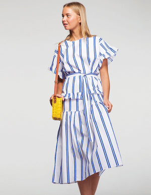 Linen Pephem Midi Dress in Blue Stripes