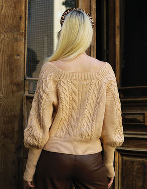 Bell Sleeve Knitted Sweater in Cream