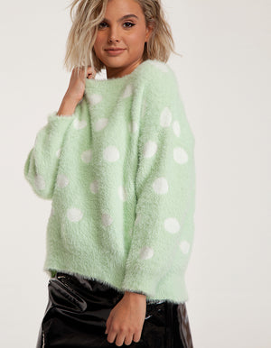 Dotted Sweater in Mint Green