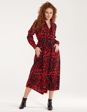 Animalier midi dress with belt in red