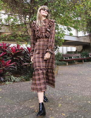 Brown Midi Dress in Check