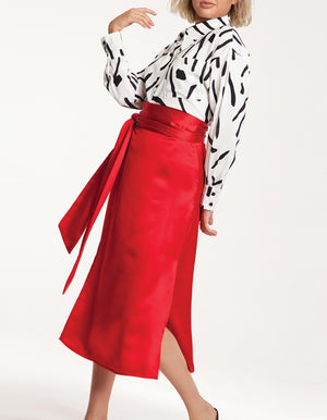 Satin Wrap Skirt in Red