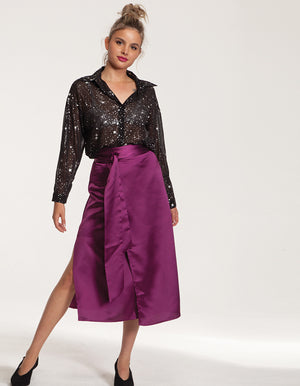 Satin Wrap Skirt in Purple