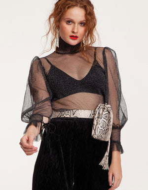 Sparkle high neck Top in black