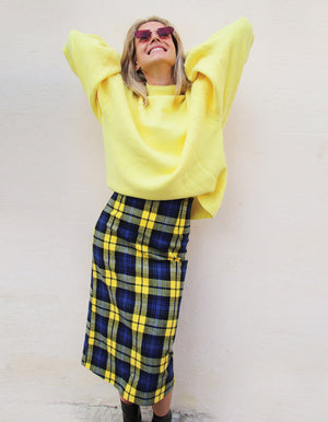 Midi Checked Skirt in Blue and Yellow