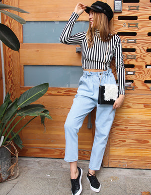 Paper Bag Waist Detail Jeans in Light Blue Wash