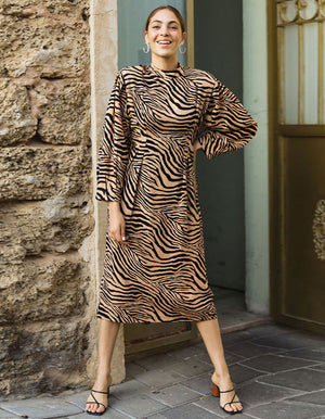Wild Zebra Print Dress In Beige
