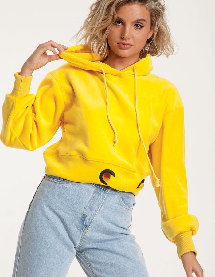 Velvet Hoodie Cropped Sweatshirt in Yellow