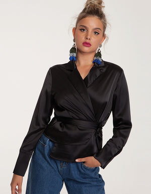 Relaxed Satin Shirt in Black