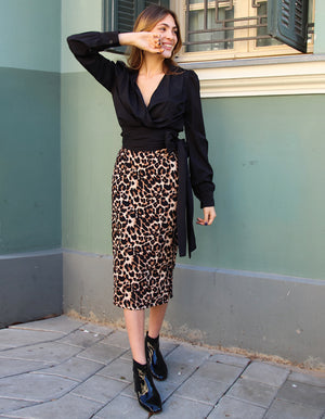 Midi Pencil Skirt in Leopard