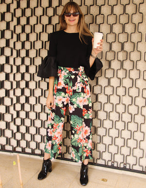 Tropicana Floral Trousers in Black