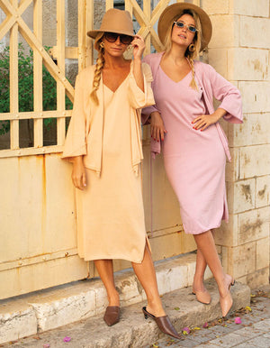 Knitted suit Dress and jacket In peach