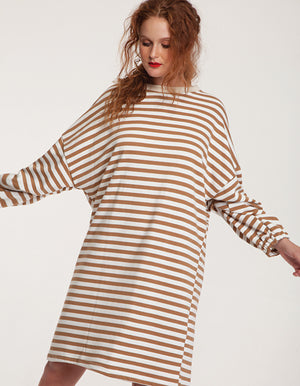 Oversized Sweatshirt Striped Midi Dress
