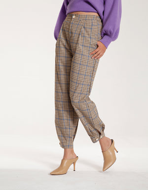 Check Pull On Trousers in Brown