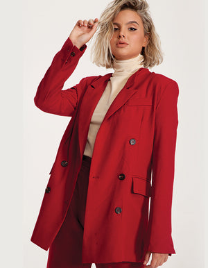 Oversized Blazer in Bordeaux