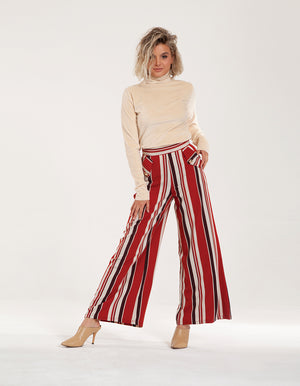 High Waist Wide Leg Trousers in Mixed Stripe