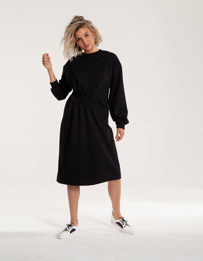 Super Stylish Sweatshirt Midi Dress in Black