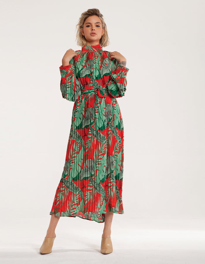Maxi High Neck Plisse Dress in Floral Red Print