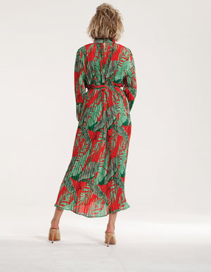 Maxi High Neck Plisse Dress in Red Floral Print