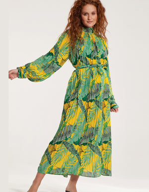 Maxi High Neck Plisse Dress in Yellow Floral Print