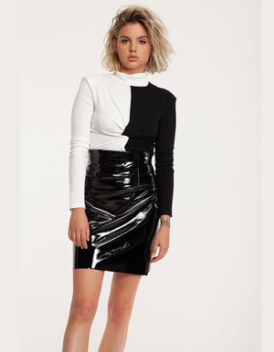 Vinyl Mini Skirt in Black