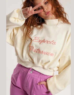 Expecto Patronum Velvet Sweatshirt in  Off White