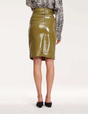 Vinyl Midi Pencil Skirt in Green