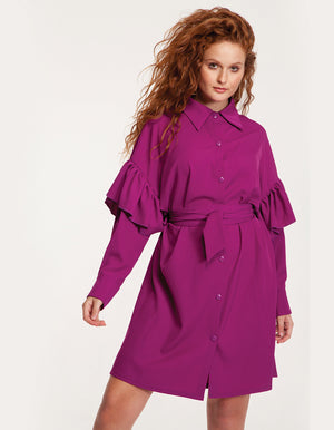 Button Through Mini Dress in Purple