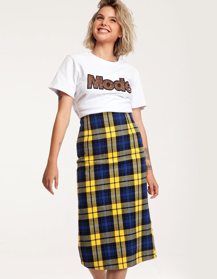 bf63f2ad83 Midi Checked Skirt in Blue and Yellow - Toppatsu