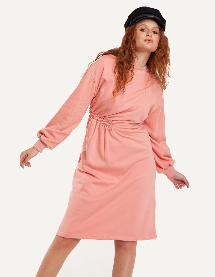 Sweatshirt Midi Dress in Pink