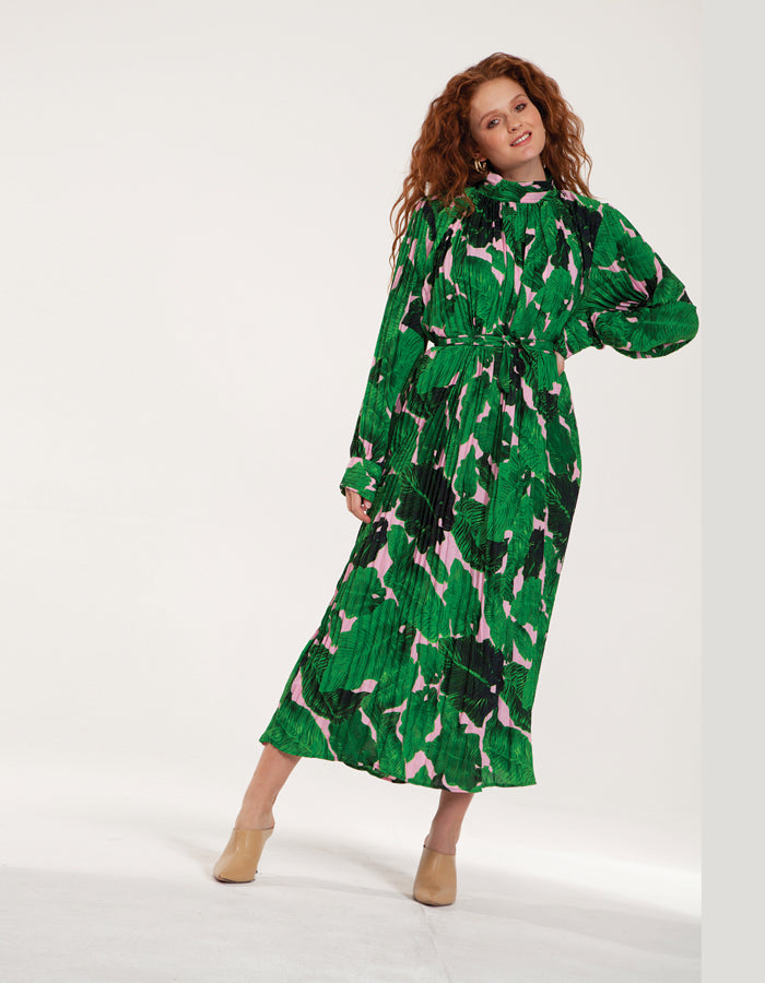 Maxi High Neck Plisse Dress in Green Floral Print