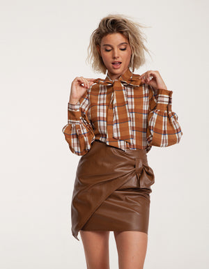 Mini Faux Leather Skirt in Brown