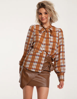 Button Front Tie Neck Shirt in Check Print
