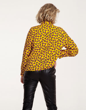 Button Front Tie Neck Shirt in Yellow Leopard