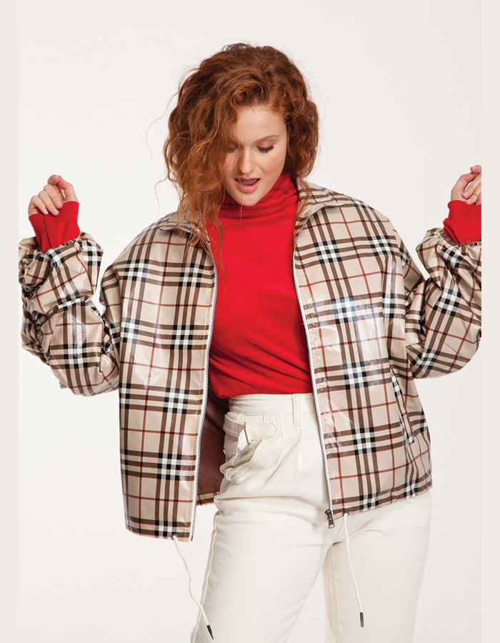 Plaid Jacket in Off-White and Brown