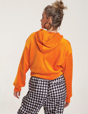 Velvet Hoodie Cropped Sweatshirt in Orange