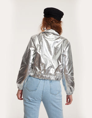 Faux Leather Biker Jacket in Silver