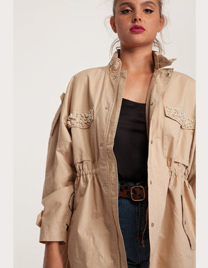 Oversized Jacket with Pearls in Beige