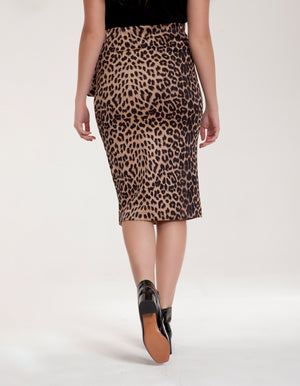 Midi Skirt with Front Split in Leopard