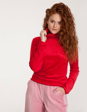 Velvet High Neck Top in Red