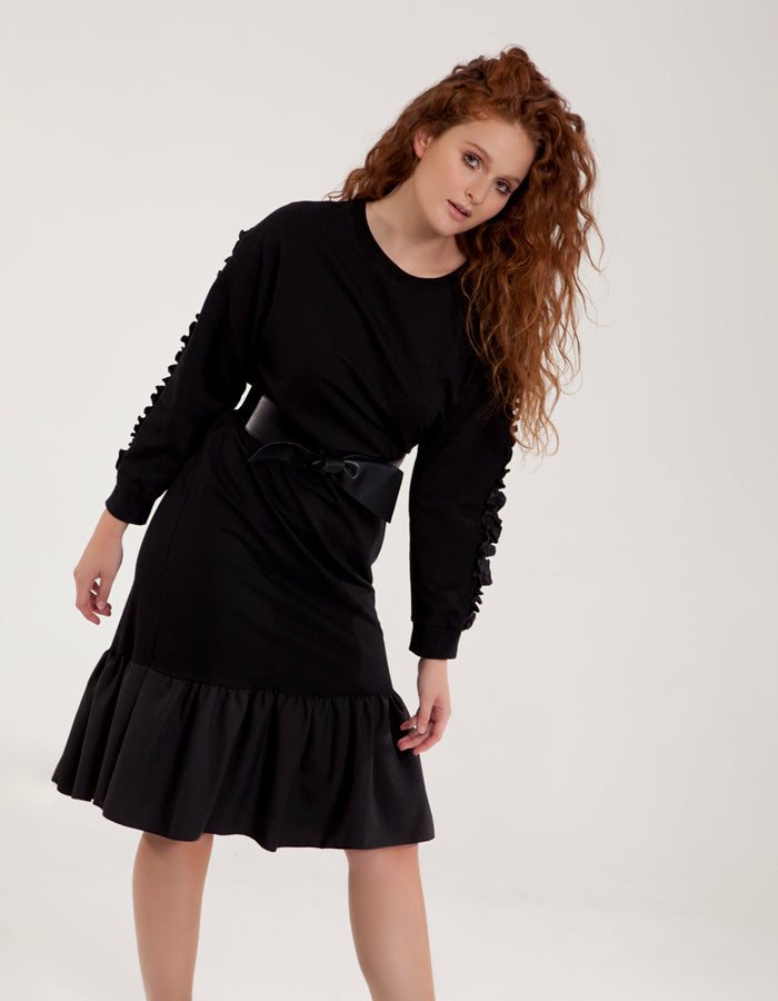 Black Dress with Ruffle Asymetric Hem