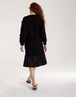 Black Dress with Ruffle Hem