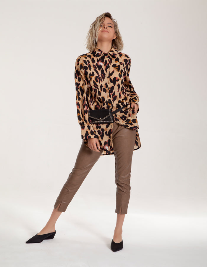 Tailored Faux Leather Pants In Beige