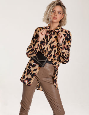 Longline Button Shirt in Leopard Print