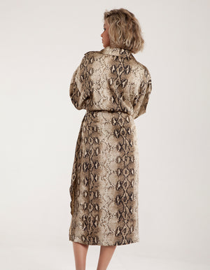 Midi Wrap Dress with Tie Detail in Snake Print