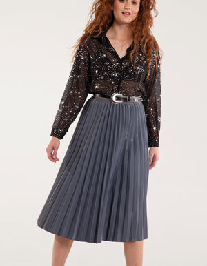 Vinyl Midi Plisse Skirt in Gray