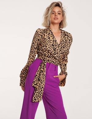Tailored wrap top in animal print