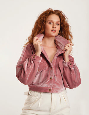Velvet Crop Coat in Pink