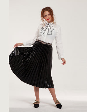 Vinyl Midi Plisse Skirt in Black