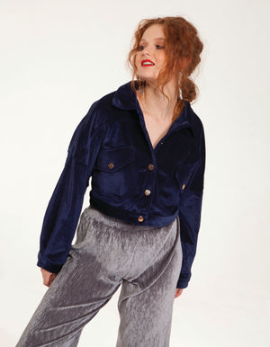 Velvet Crop Coat in Blue